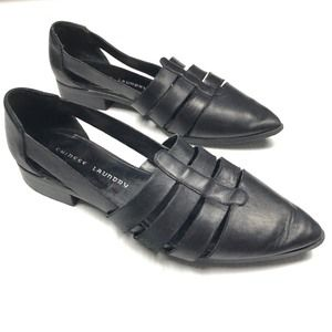 ❤️Pointed Toe Strappy Black Leather Flats 9.5